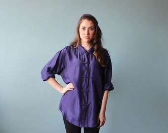 silk oversize blouse / purple silk button up top / 1980s / small - large