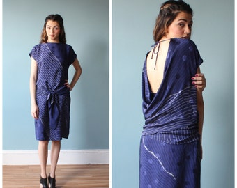 drop waist dress / peek a boo back / 1980s / small - medium
