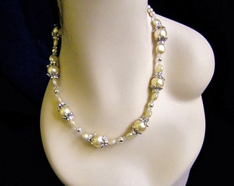 Vintage Pearl Necklace Champagne Pearl Crystal, Bridal Wedding Jewelry, Beaded Bridal Necklace, Statment Necklace -LYDIA
