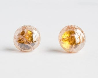 Pink champagne delicate minimal shattered glass cracked marble stud post earrings