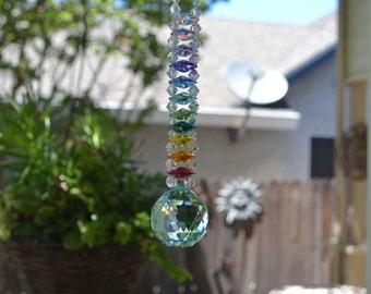 "Authentic 100 Beaded 10"" Long Graduating Mesmerizing Swarovski Crystal Chandelier Ladder Rainbow Suncatcher 224 Facets Per Crystal Ball"