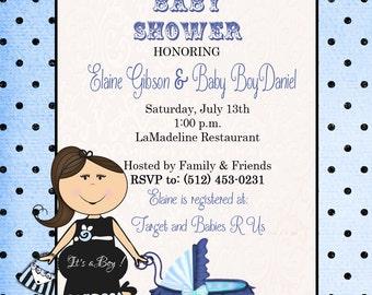 Polka Dot Baby Boy Shower Invitation