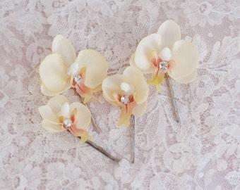 champagne bridal hair pins, orchid hair clip, flower hair accessories, bridal hair accessories, rhinestones, floral hair pins, wedding hair