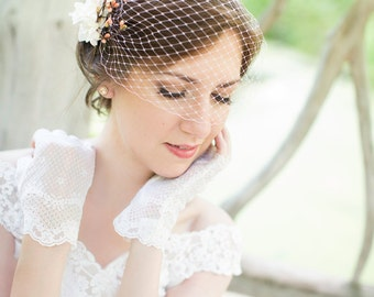 pink bridal bandeau veil, wedding birdcage veil, small pale pink net veil, white bridal bird cage veil - BLUSHY - many colors, veil only