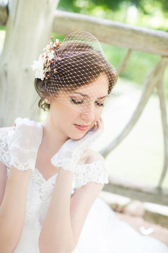 pink bridal bandeau veil, wedding birdcage veil, small pale pink veil, white bridal bird cage veil - BLUSHY - custom made, many colors
