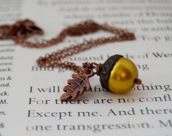 Copper and Golden Acorn Necklace | Pearl Acorn Necklace | Cute Acorn Charm Necklace | Copper Acorn