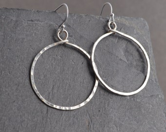 Handmade hammered medium sterling hoop earrings