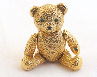 Napier Bear Pin Vintage Jointed Articulated Moves Green Rhinestone Eyes