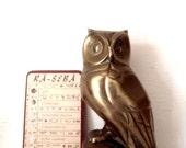 Vintage Modern Brass Owl Statue