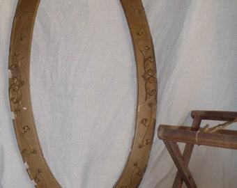 """Antique Solid Wood Gilded Carved Floral Oval Frame 46"""" High"""