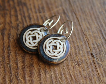 Blue/Brown Celtic Knot Earrings