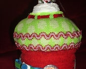 SALE!! Faux/Fake Cake Centerpiece/Gift Box for Christmas/Holiday Gift round in red, lime green with snowman & Santa on top