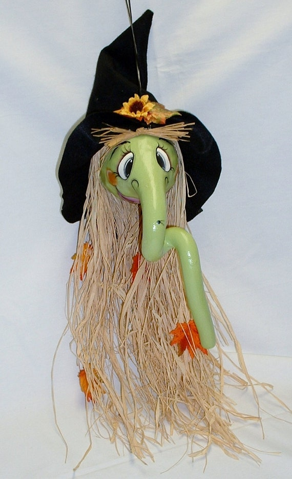 Halloween Witch Gourd Hand Painted