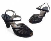Vintage 50s Heels // 1950s Heels // Peeptoe Heels // Black Heels // Black Suede Heels //Sling Back Heels - sz 7