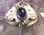 Soulmate Doves on domed sterling, purple amethyst stone pendant, symbolic pendant, spiritual jewelry