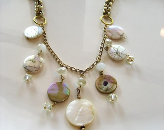 Brass Sea Shell Necklace, Pale Yellow, Mother of Pearl, Summer Jewelry, Ocean Necklace, Charm Necklace, Statement Necklace, Beach Jewelry