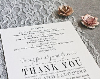 Blush Pink Wedding Menu and Thank You Note, Custom Thank You Note, Wedding Thank You, Custom Wedding, Blush Pink Wedding  - April and Blake