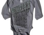 Onesie Long Sleeve Baby Brooklyn in Grey, for Boys and Girls