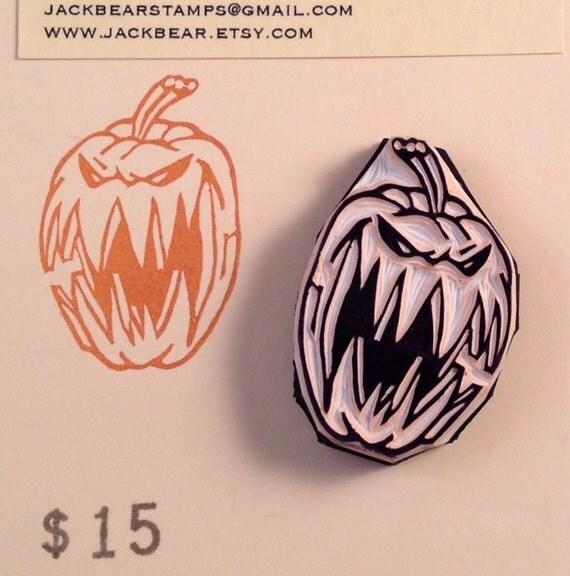 Jack o lantern rubber stamp hand carved from jackbear on