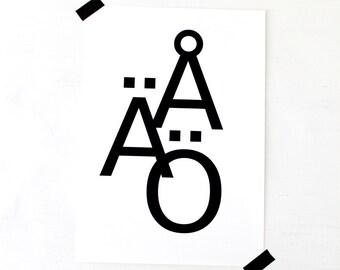 Scandinavian Print // Scandinavian Typography // Scandinavian Gift // Made in Sweden // Swedish Gift // Swedish Art // Scandinavian Art