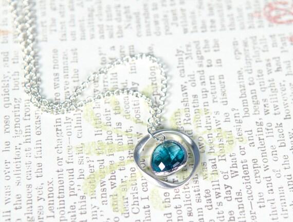 Drop necklace, Silver, aquamarine blue, glass, pendant, ocean, beach, sea, glass jewelry, charm, bridesmaid gift, handmade in Santa Cruz