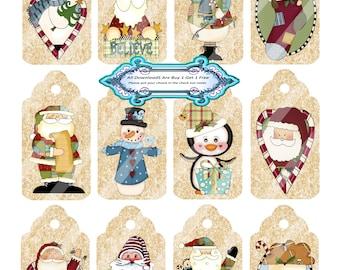 Christmas 1316 Mini Tags Printable Digital Collage Sheet
