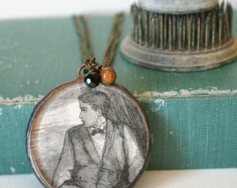 Antique Image Man Under the Tree Pendant with Charms on Brass Chain