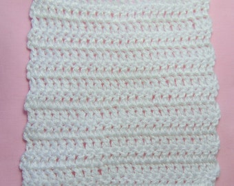 Basic square crocheted tracheostomy stoma cover with ties