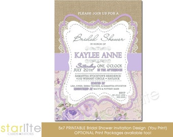 Lilac Bridal Shower Invitation, Lavender Floral Bridal Shower Invitation, Burlap + Lace Vintage Bridal Shower Invitation