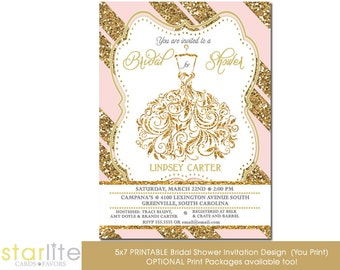 Wedding Gown Bridal shower invitation, Pink Gold Glitter Stripes, Unique Shower invitation, vintage style Printable Design or Printed Option