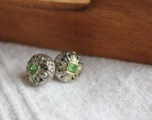 Silver and green stone earrings---Vintage