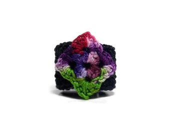 Crochet Ring Fiber Ring  Diamond Applique Mini Granny Square Green Dark Red Violet Dark Purple Lavender On Black Fiber Band