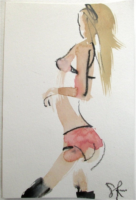Nude Painting of Boudoir Session 5.4 original watercolor nude painting by Gretchen Kelly