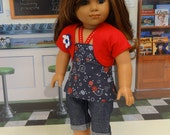 Lil Firecracker - Bandeau top and capris for American Girl doll