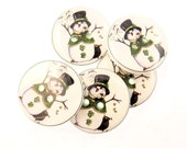 St. Patrick's Day Buttons. 5 Handmade Decorative Novelty Buttons. St. Patrick's Day Snowman Buttons.  Craft Sewing Buttons.