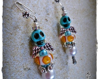 ThE SkULL FaiRiEs /MoDeL #5/ whimsical earring collection by WiLd PeArLy