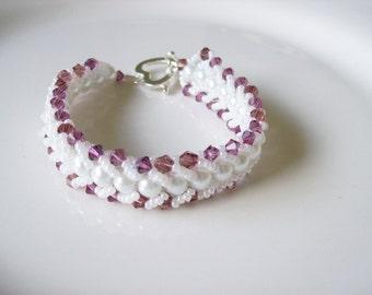 White glass pearl bracelet ,  Beadwork bracelet ,  Crystal and pearl bracelet , Bead woven bracelet , Beaded bracelet , Seed bead bracelet