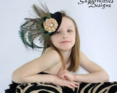 Peacock Mini Top Hat Fascinator - Over the Top Mini Top Hat - Baby/Toddler/Girl Hat - Pageant Photo Prop Hat - Black/Gold Mini Top Hat