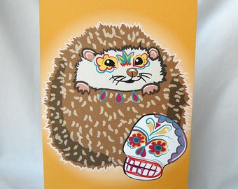 Muertos Hedgehog Greeting Card