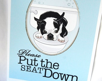 Put the Seat Down Boston Terrier - 8x10 Eco-friendly Print