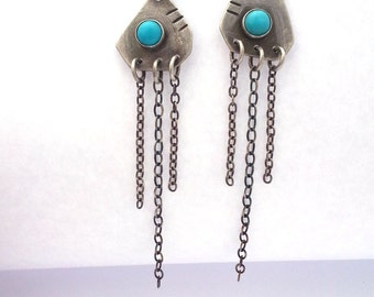 Mismatched Earrings, Natural Turquoise and Sterling Silver Chain Earrings, Oxidized Silver and Turquoise Statement Earrings