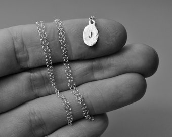 Petite Custom Initial Necklace. Sterling Silver. Hammered Detail. Tiny. Small. Delicate. Fine. Personalized Jewelry.