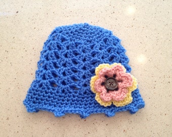Baby Lace Hat with Flower
