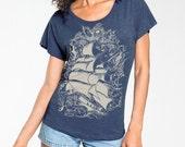 Pirate Ship T-shirt, Nautical T shirt, Sailing Ship t-shirt,  Women's Fashion t-shirt, Indigo Blue , Gift for Her