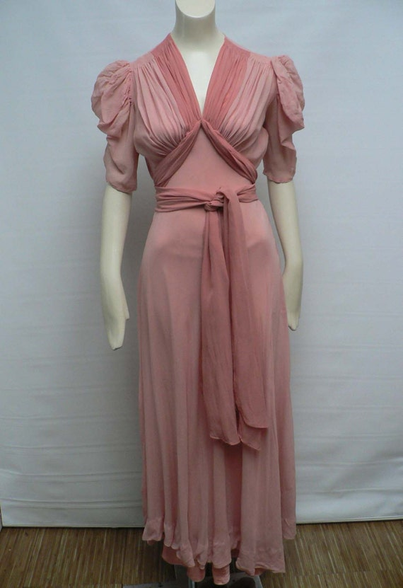 1930s Pink Silk Chiffon Gown 30s Dinner Dress By