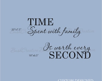 Time Spent with Family Wall Decal Worth Every Second Pinterest Wall Clock Wall Decal Vinyl Decal Wall Sticker Time Second Wall Decal Decor