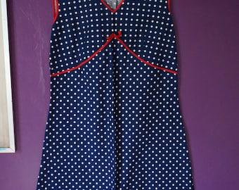 vintage 60s 70s navy blue dress white polka dot red bow trim pinafore mini shift aline a line 1960 1970 beach sundress sun dress pin up vlv
