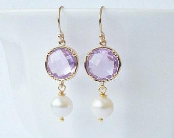 Lilac Crystal Pearl Dangle Earrings