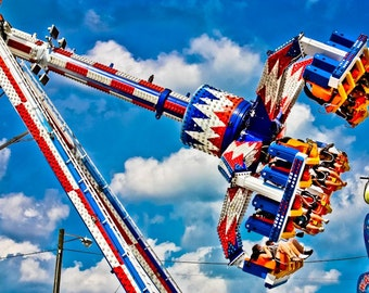 Carnival Flying Claw Ride Fine Art Print- Carnival Art, County Fair, Nursery Decor, Home Decor, Children, Baby, Kids