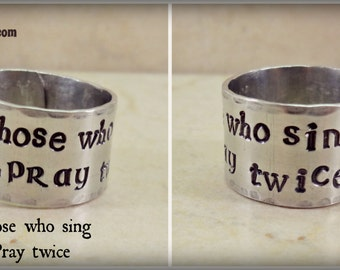 Christian Ring, Christian Music Ring, Hand Stamped Adjustable Ring, Those Who Sing Pray Twice, Christian Singer Musician Gift, Celtic Cross